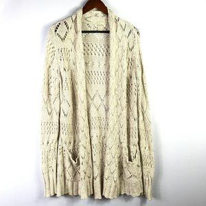 Lucky Brand Womens Long Cardigan Size XL Tan Open